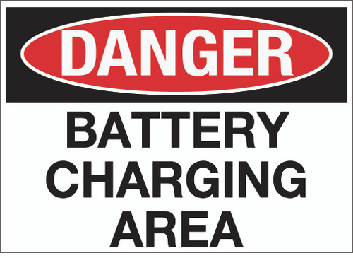 Danger: Battery Charging Area Wall Sign