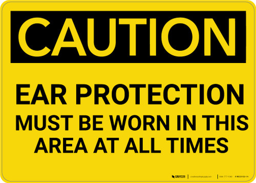 Caution: PPE Ear Protection Must be Worn in Area at All Times - Wall Sign