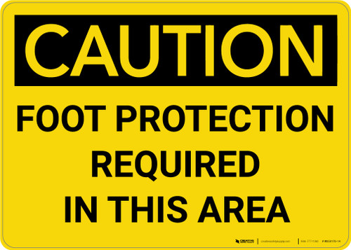 Caution: PPE Foot Protection Required in This Area - Wall Sign