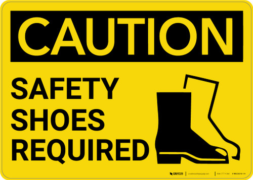 Caution: PPE Safety Shoes Required With Graphic - Wall Sign