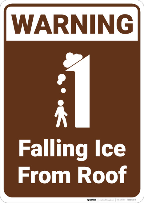 Warning: Falling Ice From Roof Campground Park - Wall Sign