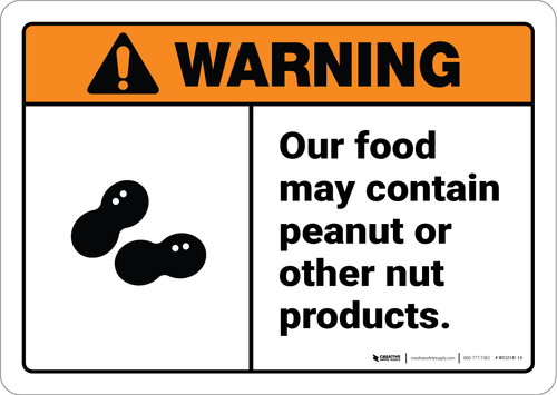 Warning: Food May Contain Peanut Or Nut Products With Graphic - Wall Sign