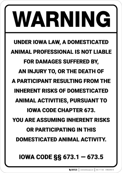 Warning: Iowa Equine Liability IA - Wall Sign