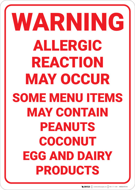 Warning: May Contain Peanut Coconut Egg Dairy Products - Wall Sign