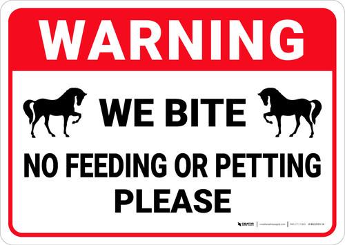 Warning: No Feeding Or Petting Horse - Wall Sign