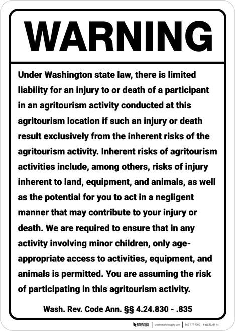 Warning: Washington Agritourism Liability WA - Wall Sign