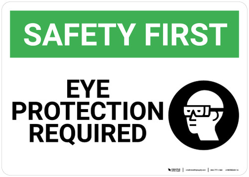 Safety First: Eye Protection Required With Graphic - Wall Sign