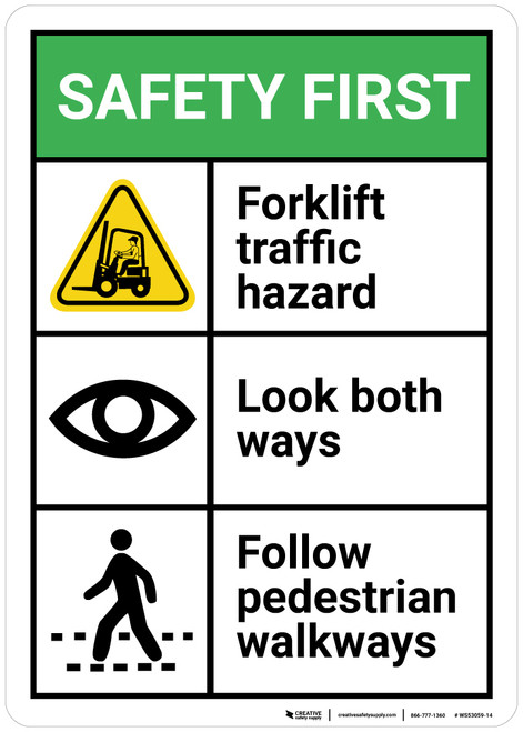 Safety First: Forklift Traffic Look Both Ways Pedestrian Walkways - Wall Sign