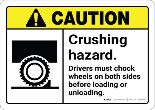 Caution: Crushing Hazard Drivers Must Chock Wheels ANSI - Wall Sign
