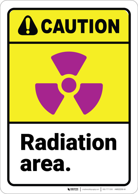 Caution: Radiation Area ANSI - Wall Sign
