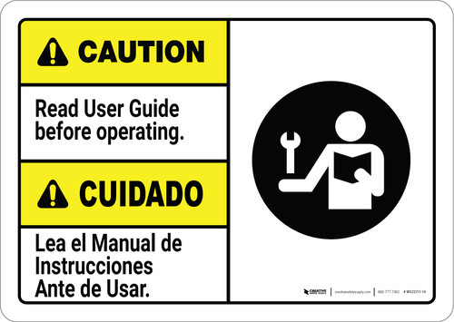 Caution: Read User Guide Before Operating Bilingual Spanish ANSI - Wall Sign