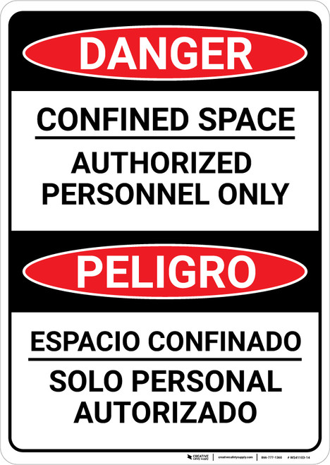Danger: Confined Space Authorized Personnel Only Bilingual Spanish - Wall Sign