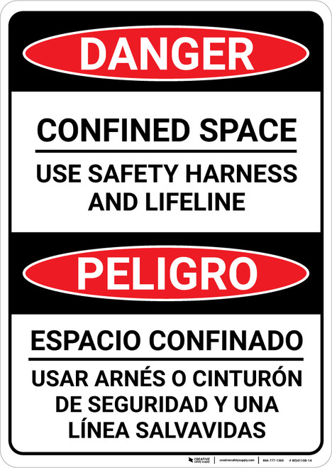 Danger: Confined Space Use Harness and Lifeline Bilingual Spanish - Wall Sign