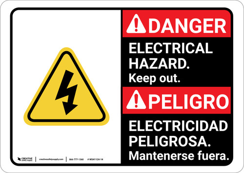 Danger: Electrical Hazard Keep Out with Graphic ANSI Bilingual Spanish - Wall Sign