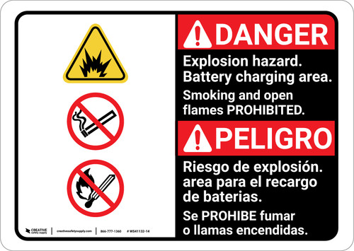 Danger: Explosion Hazard Battery Charging Bilingual Spanish - Wall Sign