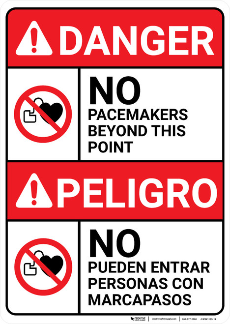 Danger: No Pacemakers Beyond This Point Bilingual Spanish - Wall Sign