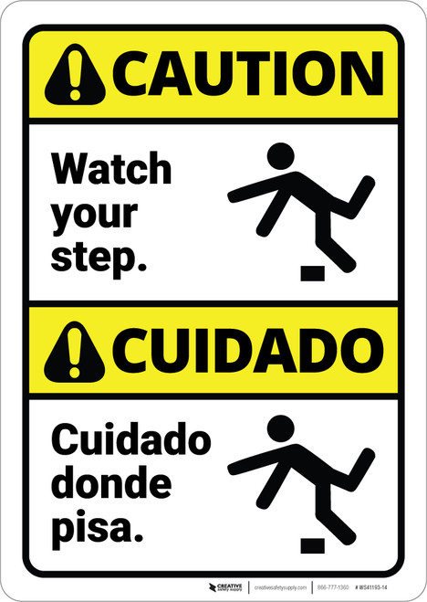 Caution: Watch Your Step With Graphic Bilingual Spanish - Wall Sign