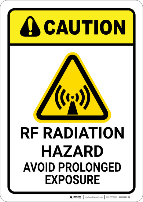 Caution: RF Radiation Hazard Avoid Prolonged Exposure With Graphic - Wall Sign