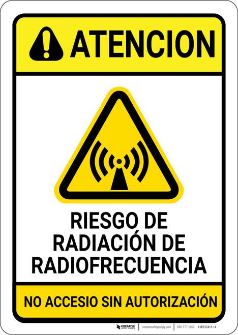 Caution: RF Radiation Hazard Spanish - Wall Sign