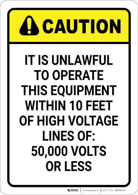 Caution: Unlawful To Operate Equipment Within 10 ft of High Voltage - Wall Sign