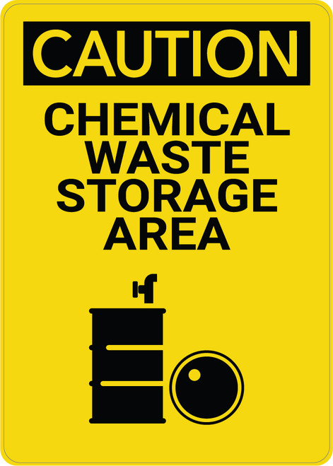 Caution: Waste Storage Area Vertical with Graphic - Wall Sign