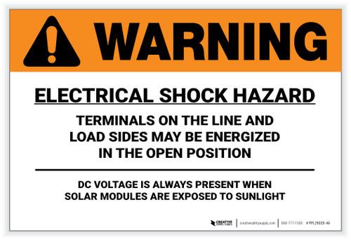 Warning: Electrical Shock Hazard - Solar Panel Label