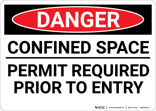 Danger: Confined Space Permit Required Sign - Wall Sign