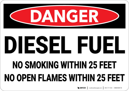 Danger: Diesel Fuel No Smoking Within 25 Feet No Open Flames - Wall Sign