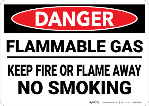 Danger: Flammable Gas Keep Fire Or Flame Away No Smoking - Wall Sign