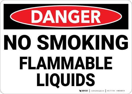 Danger: Flammable Liquids No Smoking - Wall Sign