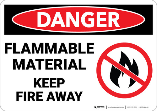 Danger: Flammable Material Sign Keep Away With Icon - Wall Sign