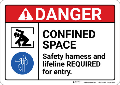 Danger: Confined Space Safety Harness and Lifeline Required ANSI - Wall Sign