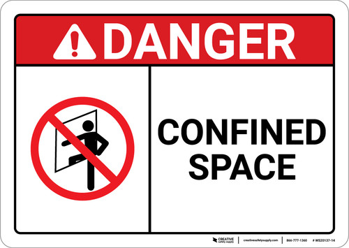 Danger: Confined Space With Icon ANSI - Wall Sign