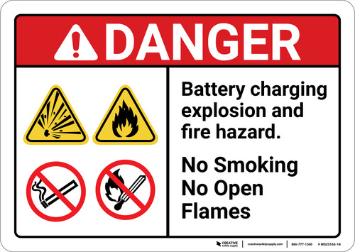 Danger: Explosion Hazard Battery Charging Explosion and Fire Hazard ANSI - Wall Sign