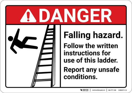 Danger: Falling Hazard Follow The Written Instructions ANSI - Wall Sign