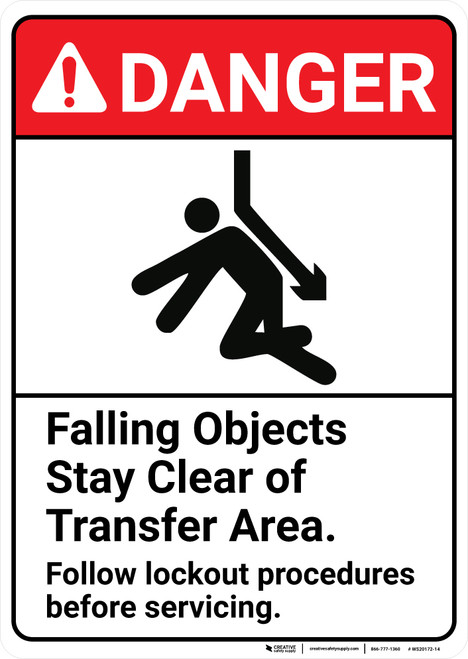Danger: Falling Objects Stay Clear of Transfer Area ANSI - Wall Sign