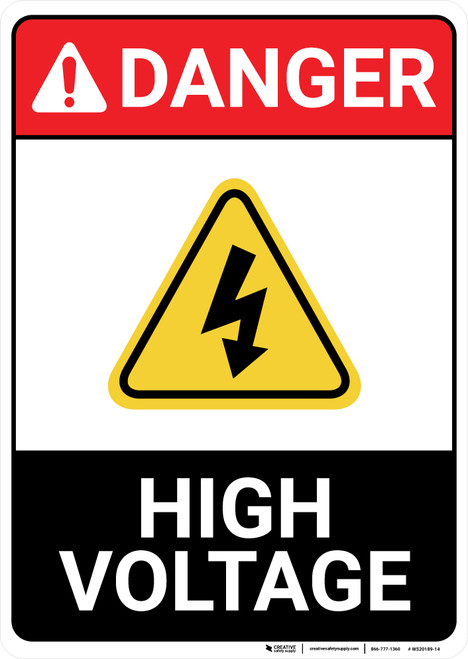 Danger: High Voltage Portait With Icon ANSI - Wall Sign