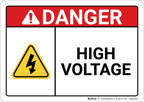 Danger: High Voltage With Yellow Icon ANSI - Wall Sign