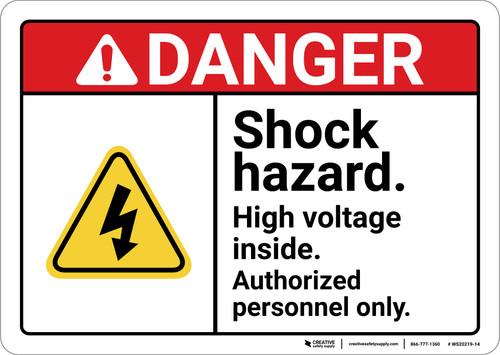 Danger: Shock Hazard High Voltage ANSI - Wall Sign