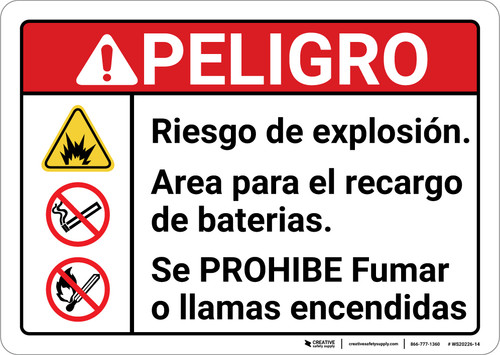Danger: Explosion Hazard Battery Charging Area Spanish ANSI - Wall Sign