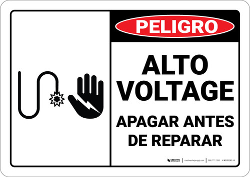 Danger: Spanish High Voltage Turn Power Off Servicing Spanish ANSI - Wall Sign