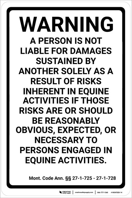 Michigan Equine Liability MI - Wall Sign