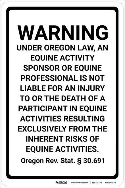 Maine Equine Liability ME - Wall Sign