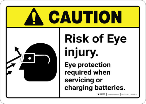 Caution: Eye Protection Required with Graphic ANSI - Wall Sign