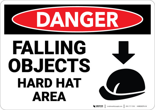Danger: Falling Objects Hard Hat Area Sign With Icon - Wall Sign