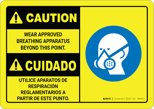 Caution: Wear Approved Breathing Apparatus Bilingual Spanish with Graphic - Wall Sign