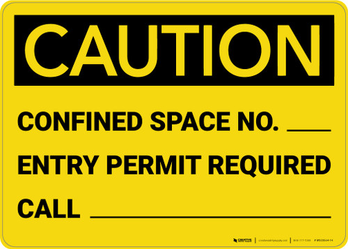 Caution: Confined Space No. Permit Required - Wall Sign
