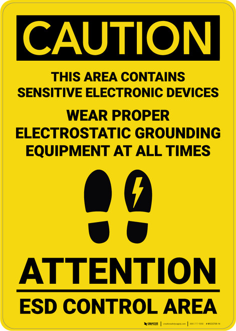 Caution: Wear Proper Electrostatic Grounding Equipment All Time - Wall Sign