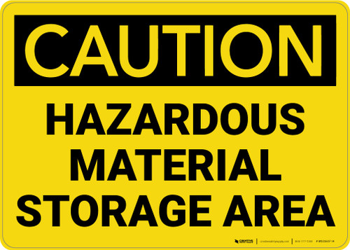 Caution: Hazardous Material Storage Area - Wall Sign