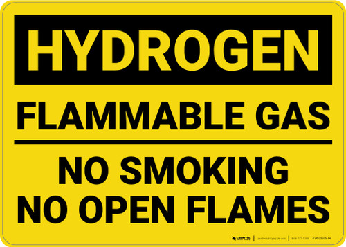 Caution: Flammable Gas No Smoking Open Flames - Wall Sign